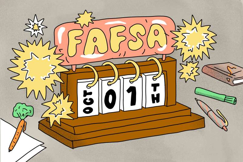 FAFSA calendar, showing October 1th with pencils laying around.