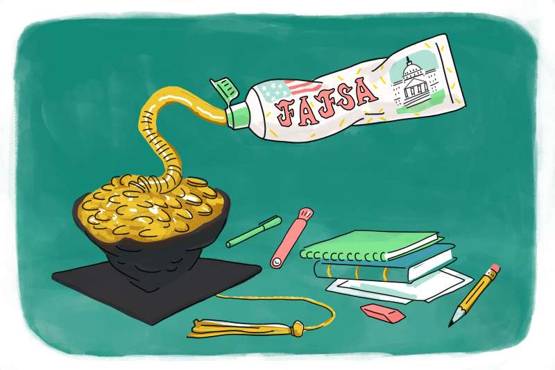 Squeezing out money from FAFSA tube into a graduation cap with pencils, book paper laying around.