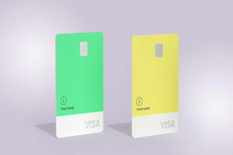 The Petal 1 and Petal 2 Credit Card on a colored background