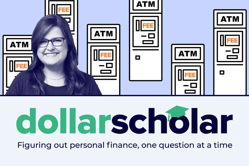 Dollar Scholar banner with ATM machines.