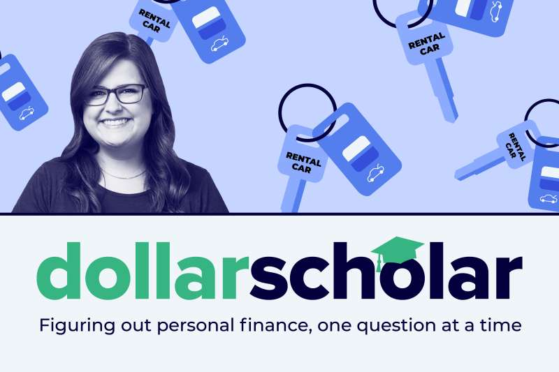 Dollar Scholar banner with rental car key graphic as the background.