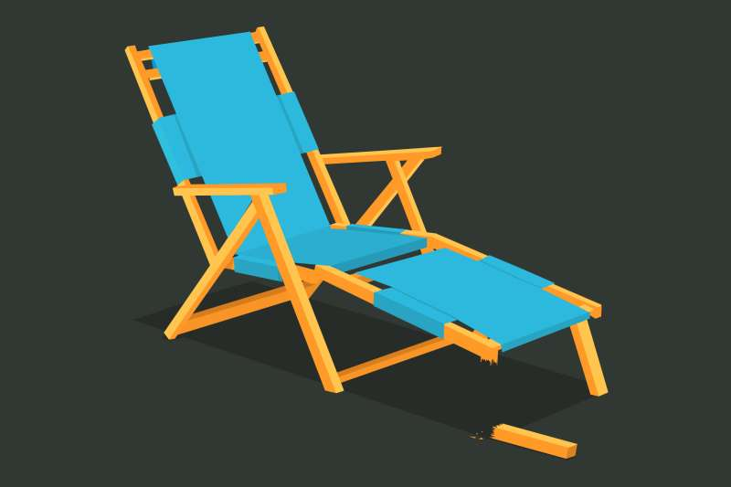 A lounge chair (representing the retirement saver's money), with about 15% of it broken off.