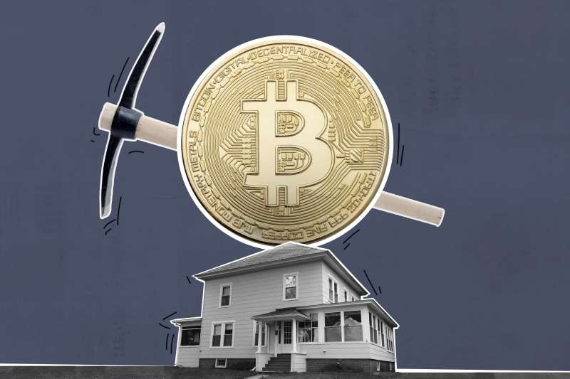 Oversized Bitcoin With Mining Pic A Small House