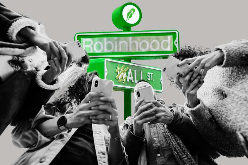 Collage of a group of students with smartphones and a Robinhood street sign in the background that says Wall St.
