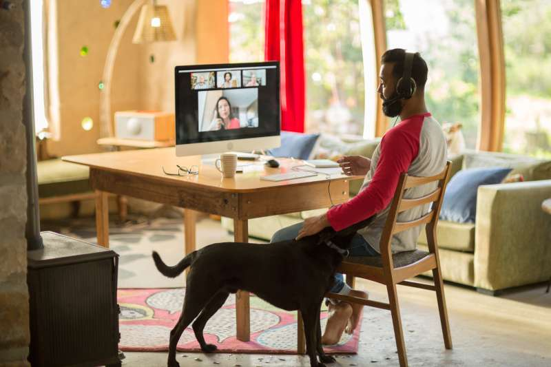 Man working from home on his computer while he pets his dog