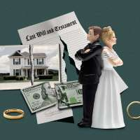 A wedding cake topper of an angry couple next to wedding rings and a split  Last will and Testament