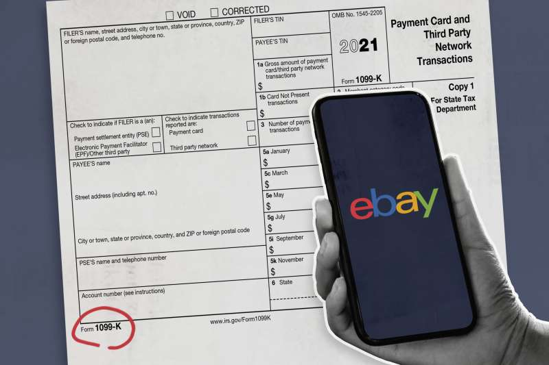Hand Holding Phone With Ebay Logo On Screen Over A 1099K Tax Form