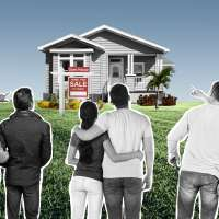 Multiple couples observe and point at a house at a distance that's for sale