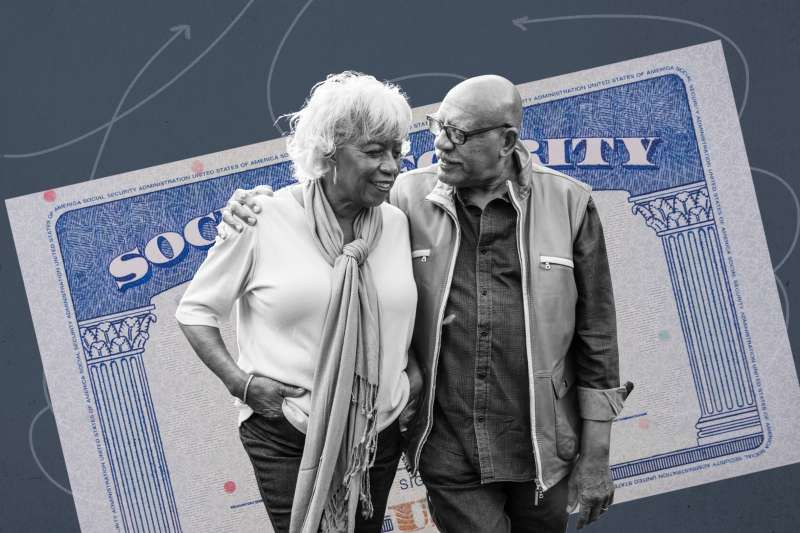 Collage of a senior couple with a social security card in the background