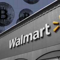 Walmart photo with Bitcoins in the background