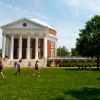 Students walking on the lawn at the University of Virginia