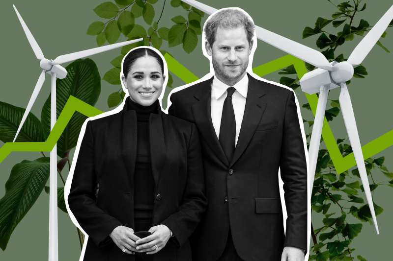 The Duke and Duchess of Sussex, Prince Harry and Meghan Markle with wind mills and plants in the background