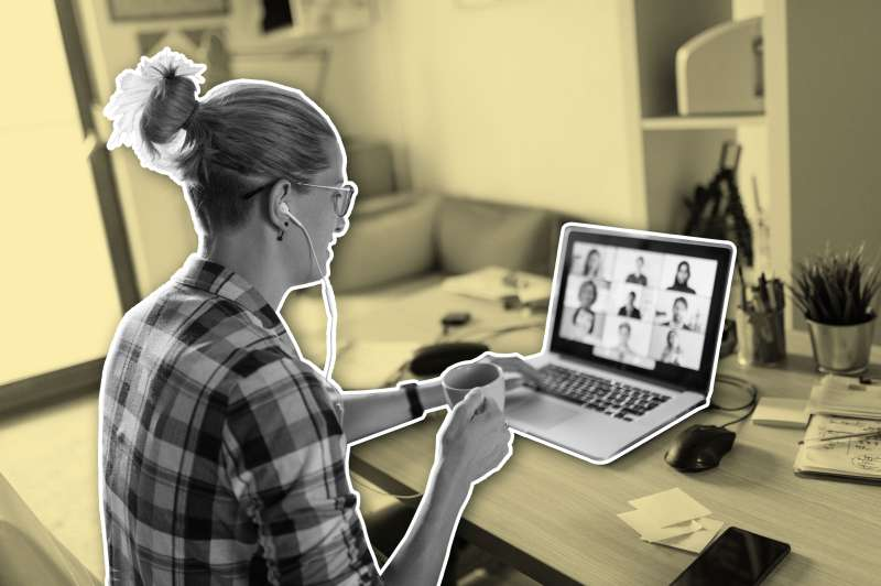 Woman On Teleconference At Home