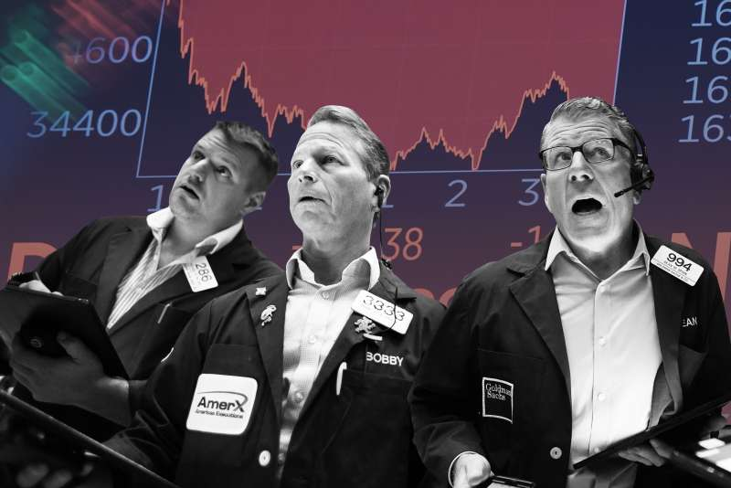 Collage of three stressed traders from the New York Stock Exchange with a negative stock board in the background