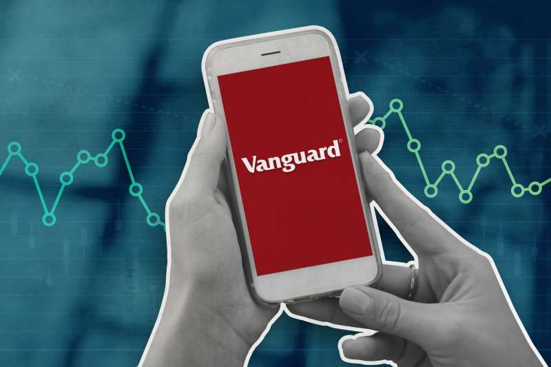 Hand Holding A Phone With The Vanguard Logo On The Screen