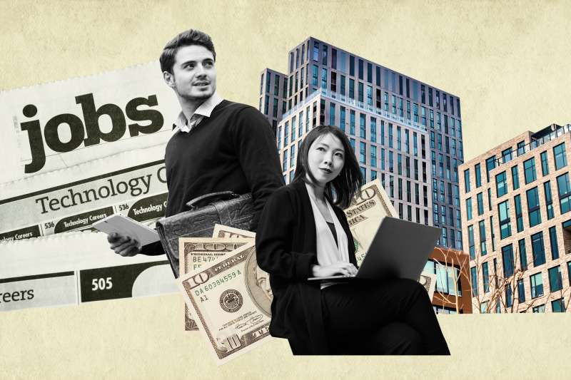 Collage of two young professionals working on their mobile devices with a building, money and a newspaper with job posts in the background.