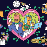 A couple in the heart shape with both checking their crypto portfolios. Around them, floating with crypto related scenes, such as dogecoin ring, bitcoin sunset while vacationing.