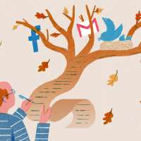 Illustration of man writing his will on a piece of paper that takes shape of a tree where there are multiple social media icons